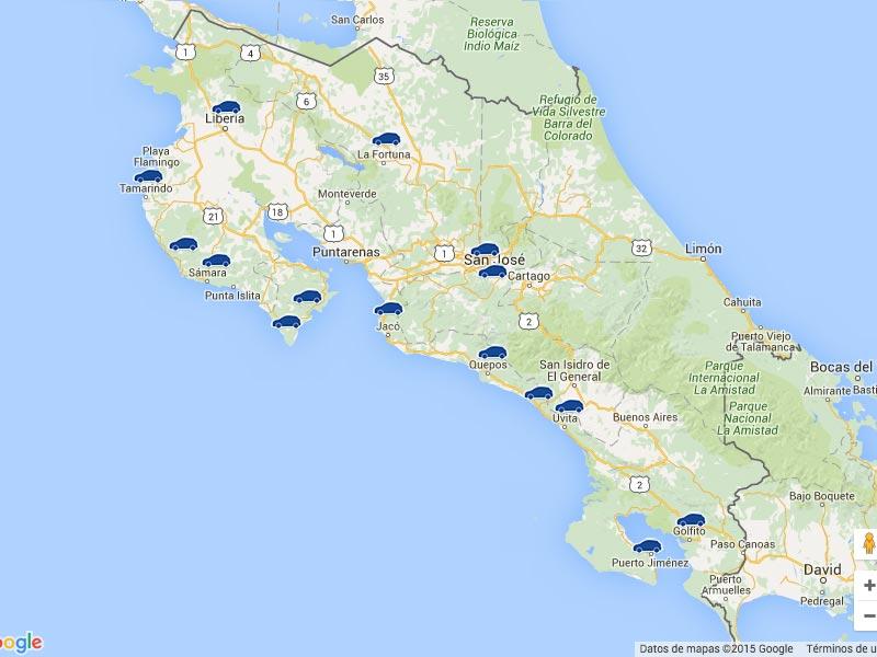 Costa Rica Protected Area Map, Tour Operator in Costa Rica