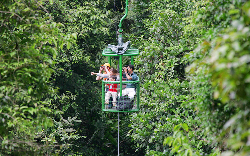 Family in Aerial Tram - Costa Rica Vacations