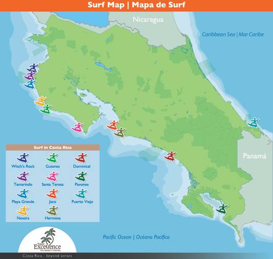 Costa Rica Best Surfing Spots Map
