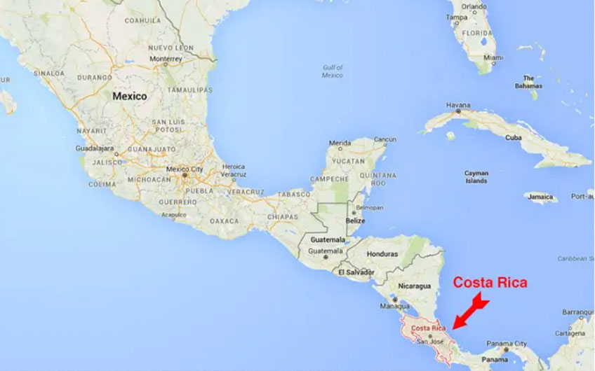 A map of Central America and part of Mexico showing the location of Costa Rica, in between of Nicaragua and Panama.