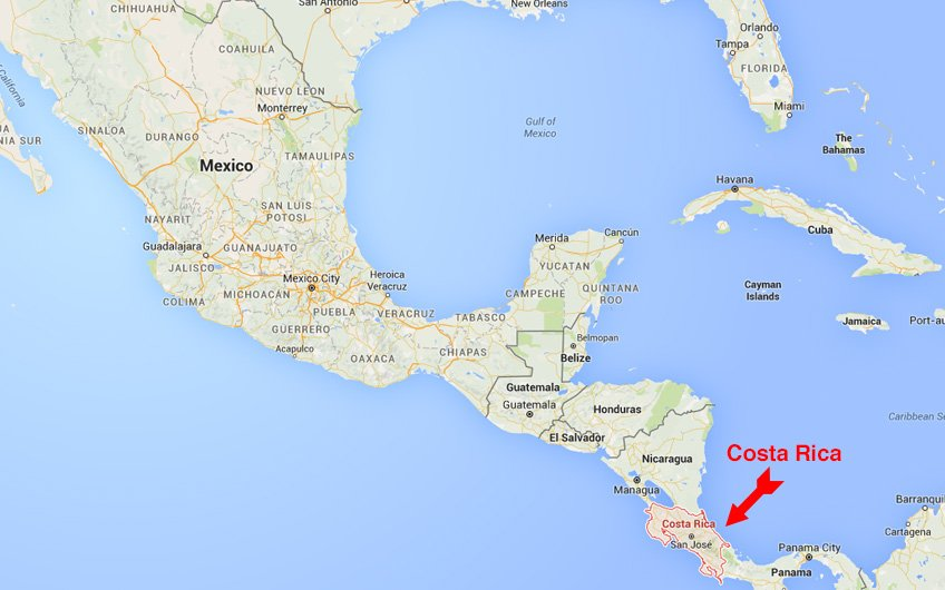 This maps shows where is costa rica located on a map of america