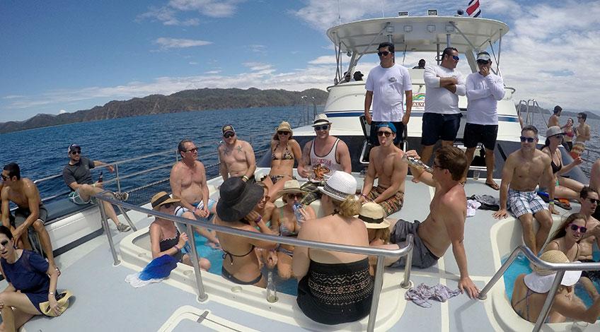 Costa Rica Family Vacations: Tortuga Island tour Catamaran people