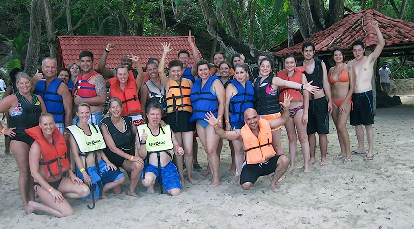 Costa Rica Family Vacations: Tortuga Island tour people in the Tortuga Island Beach