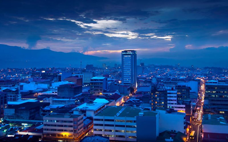 San Jose Night View in Costa Rica.