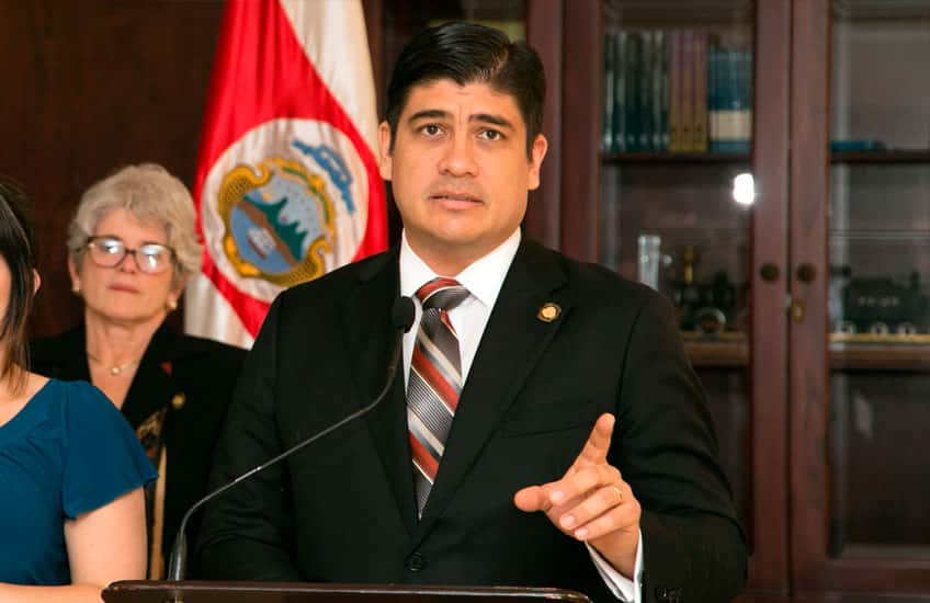 The President of the Republic, Carlos Alvarado Quesada