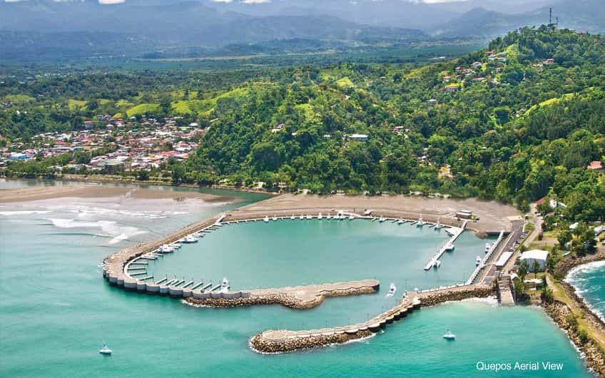 An aerial view of the Quepos marina.