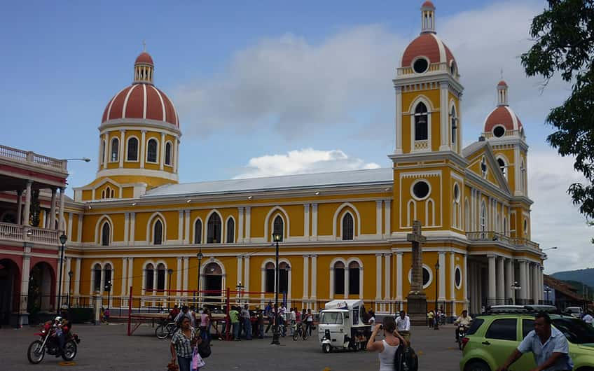 A picture of Our Lady of the Assumption Cathedral in Granada, Nicaragua, during a morning city tour.