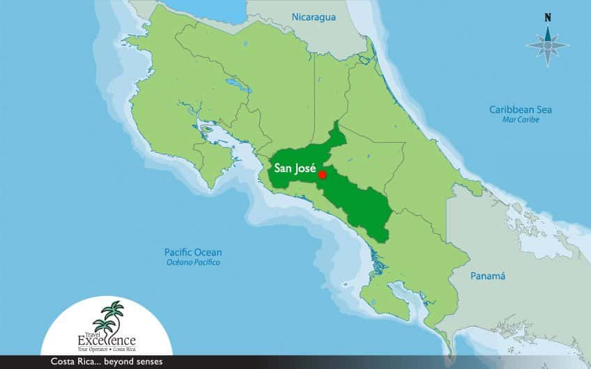 Map of San Jose Costa Rica and surrounding area, with the heart of the city highlighted.