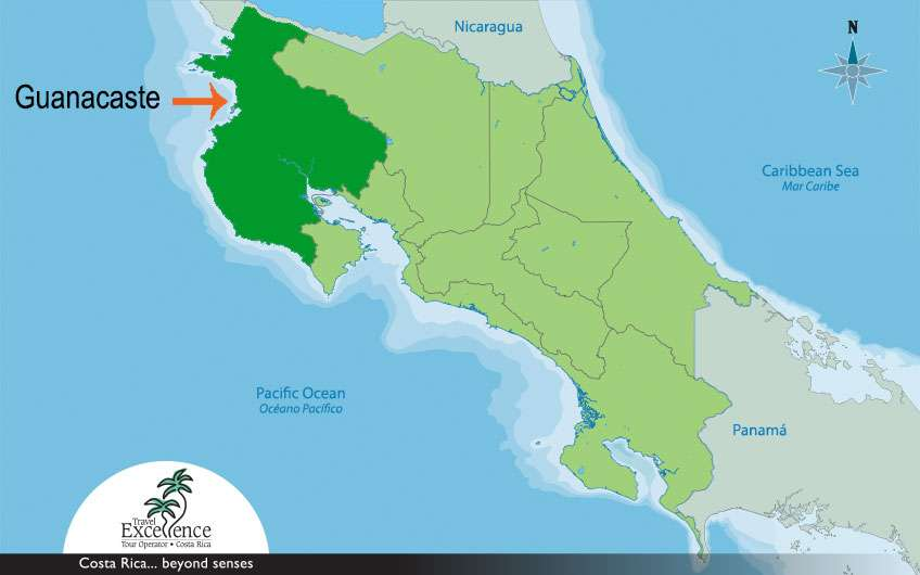 As a reference for travellers and to ease them their trip, here the arrow shows where Guanacaste Costa Rica is located.