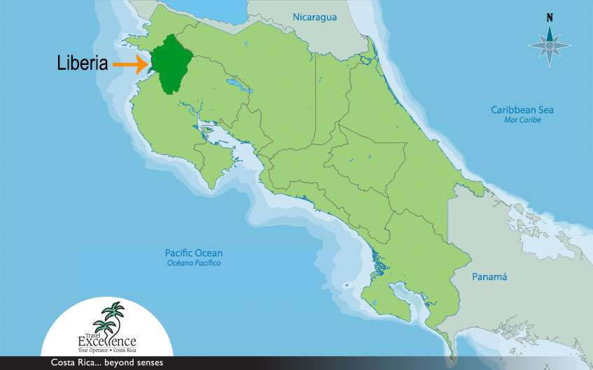 The city of Liberia constitutes an important part of the Guanacaste map, and it is considered the capital of the Province.
