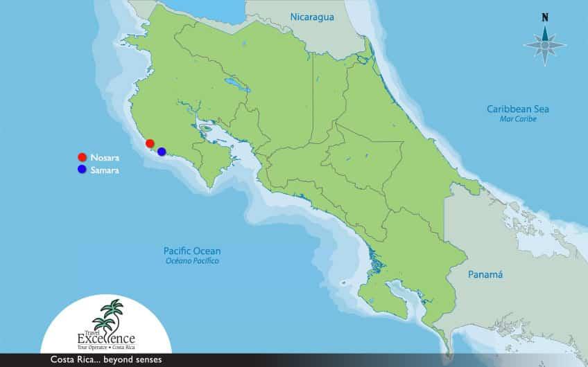 Map Nosara & Samara Costa Rica