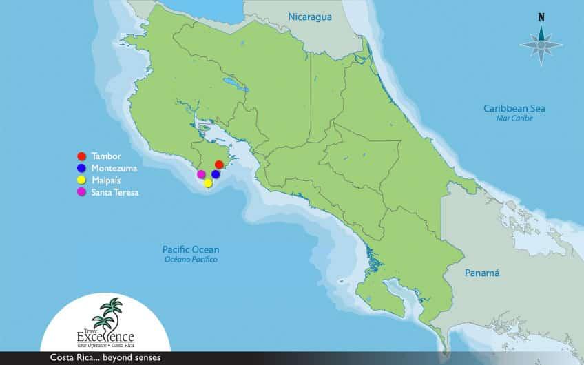 Map Nicoya Peninsula Costa Rica
